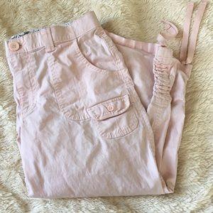 🥑 Lee comfort light pink tie leg Capri's. 6P